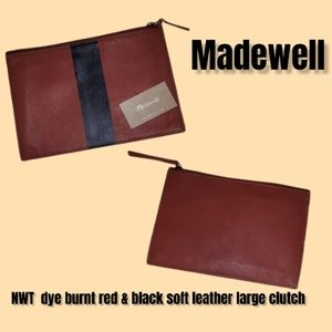 NWT Madewell dye burnt red & black soft leather large pouch clutch handbag